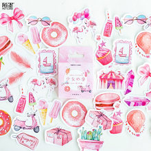 DIY Mohamm Box Cute Stickers Scrapbooking Label Japanese Korean Diary Paper Travel Lifelog Girl Pink Stickers(China)
