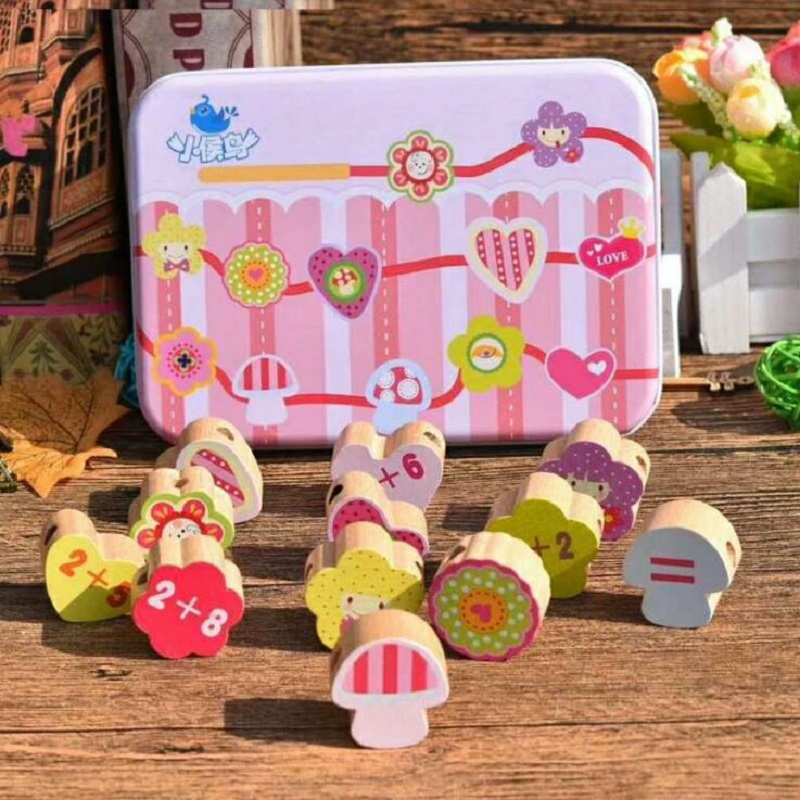 Fly AC Children's Beaded Wooden Animals Fruits Bead Threading Beads Educational Toys For Kids Girls Intelligence Toys Gift 12pcs