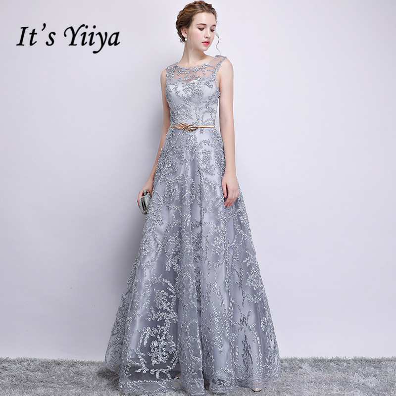 It's YiiYa   Bridesmaid     Dress   Embroidery Illusion O-neck Sleeveless Gray   bridesmaid     dresses   Elegant A-line Long Party Gown E122
