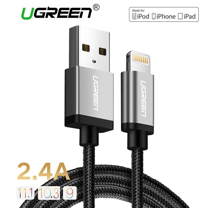 Ugreen 2.4A MFi Fulmine al Cavo USB per iPhone 7 6 5 Veloce caricatore USB Cavo Dati per iPhone 8X5 5 S iPad iPod Ricarica cavo