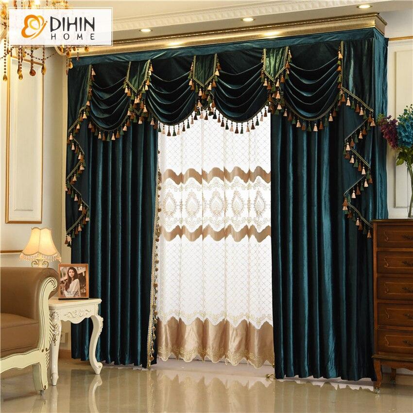 Rideaux de fenêtre de luxe DIHIN HOME pour rideaux de salon sur mesure (dentelle de perles non incluse)-in Rideaux from Maison & Animalerie    1