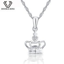DOUBLE-R Fine Jewelry Crown necklaces & pendants Female Genuine 0.01ct Diamond 925 Sterling Silver Jewelry for women