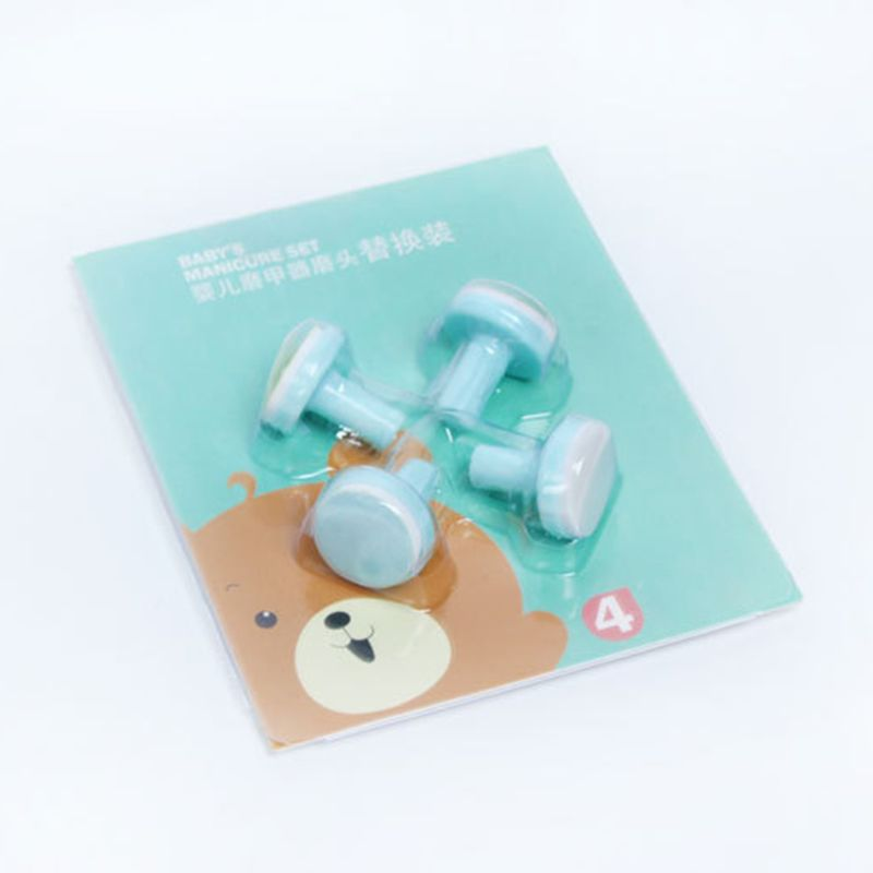4 Pcs/Set Electric Baby Nail Trimmer Head Replacement Kids Infant Safe Nail Manicure Polishing Sand Sponge