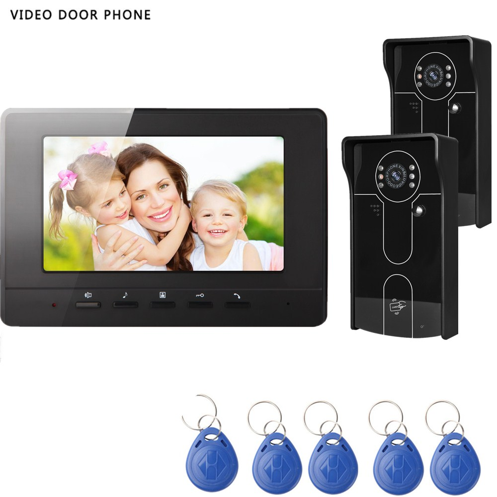 Wire video door phone intercom system 7inch hd screen with night vision RFID outdoor cam ...
