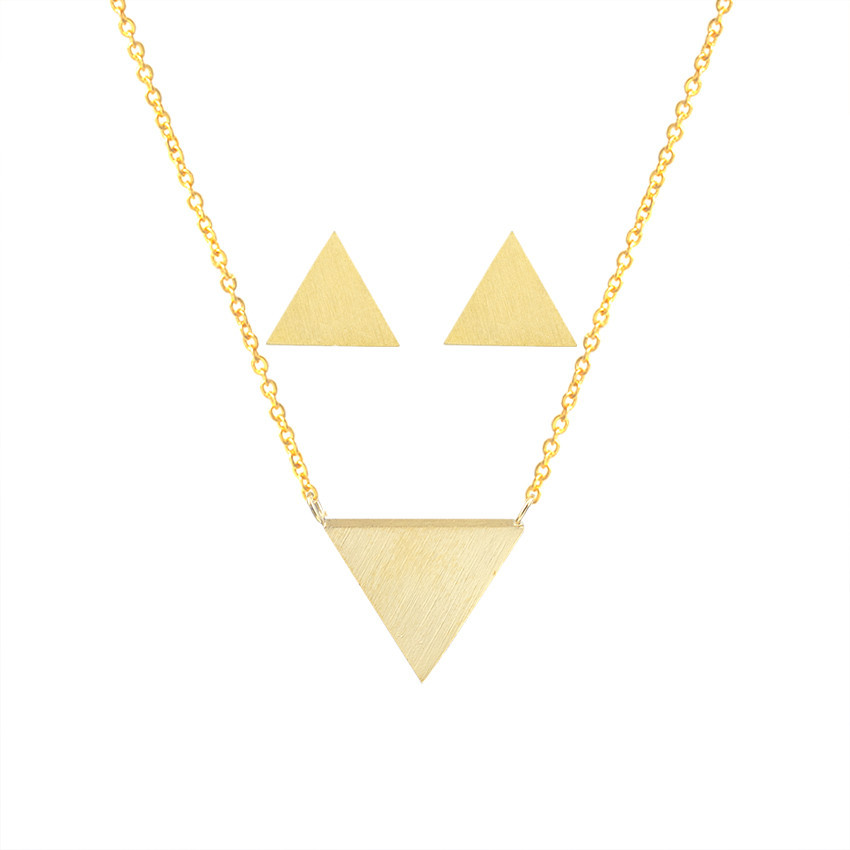 a05023d1 US $2.8 30% OFF|Stainless Steel Solid Triangle Pendant Necklace Stud  Earrings For Women Men Geometric Jewelry Set Rose Gold Brinco Feminino-in  Jewelry ...