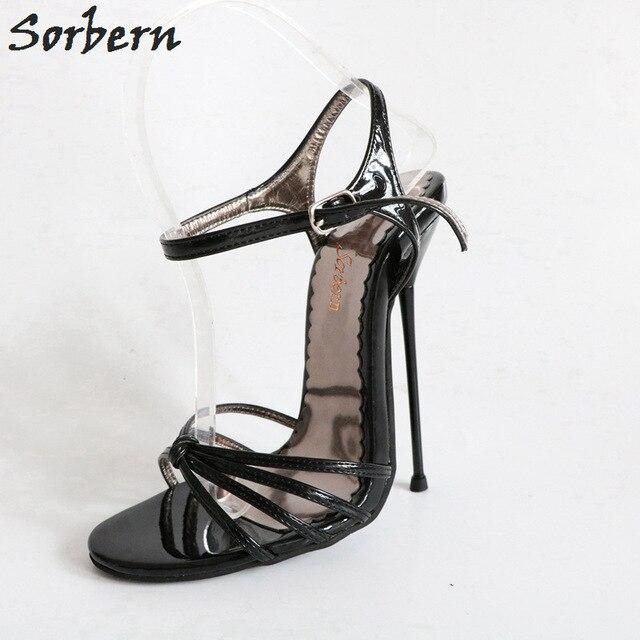 Sorbern Shiny Black Knot Sandals For Women Metal High Heels Stilettos Summer Shoes Ladies Sandals Size 11 Night Club Footwear