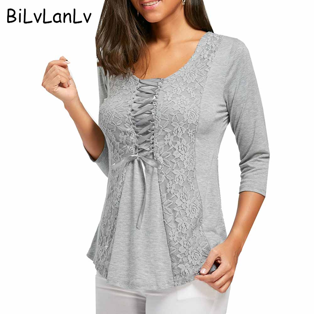 BiLvLanLv font b Women b font Fasion T shirt 2018 Casual Spring Half Sleeve Lace Panel