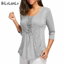 BiLvLanLv Women Fasion T-shirt 2018 Casual Spring Half Sleeve Lace Panel Lace Up Tops Tee Womens Clothing Gray Tee Shirts