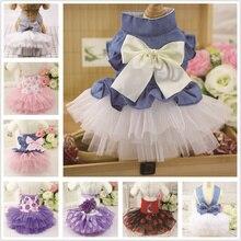 Цветущее Персиковое клетчатое платье в полоску с бантом для собак, летняя Розовая Одежда для питомцев с цветами для маленьких чихуахуа, кошек, тюлевых XS-2XL