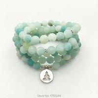SN1164 New Design Women S 8 Mm AB Amazonite Mala Beads Bracelet Trendy Yoga Necklace Buddha
