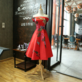Red Cocktail Dress 2016 New Boat Neck Tea-length Formal Wedding Party Dresses Bride Elegant Banquet Appliques Flower Gown
