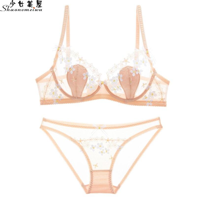 fcda49cf5 Shaonvmeiwu Ultra fino copo transparente roupa interior de malha sexy  conjunto de sutiã bordado see-through mulheres sedução sutiã fina