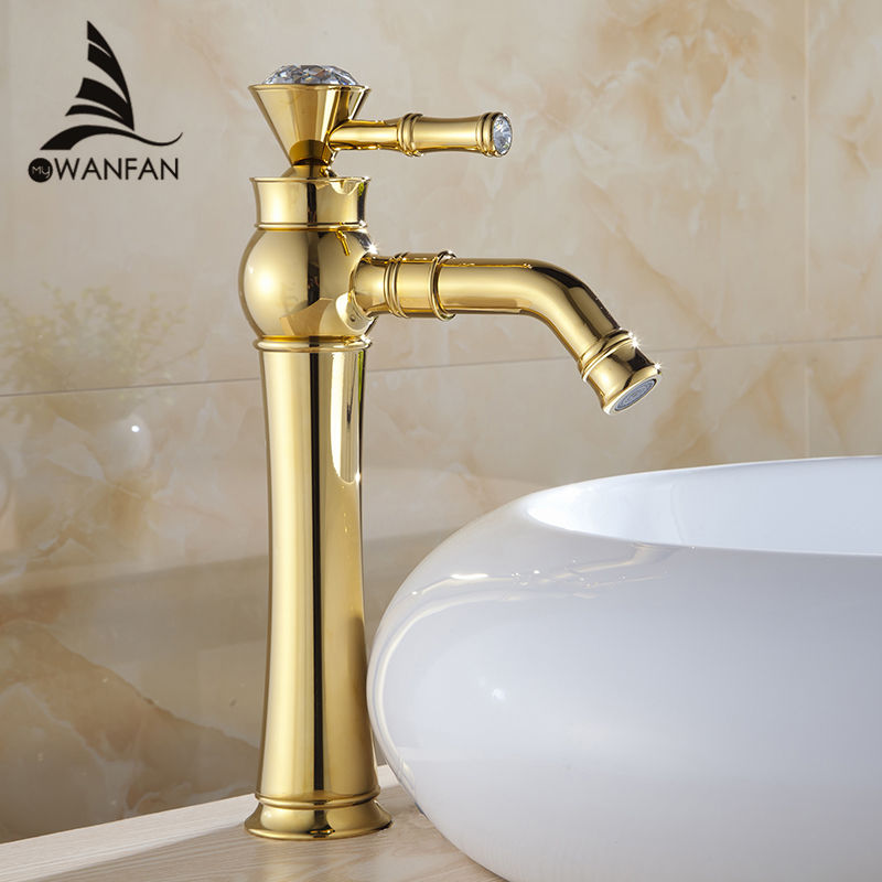 Basin Faucets Modern Gold Color Deck Mounted Bathroom