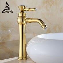 Бесплатная доставка Современные золотой кран золото для ванной золото отделка бассейна Смесители Золото Высокие кран раковины ванной комнаты 327