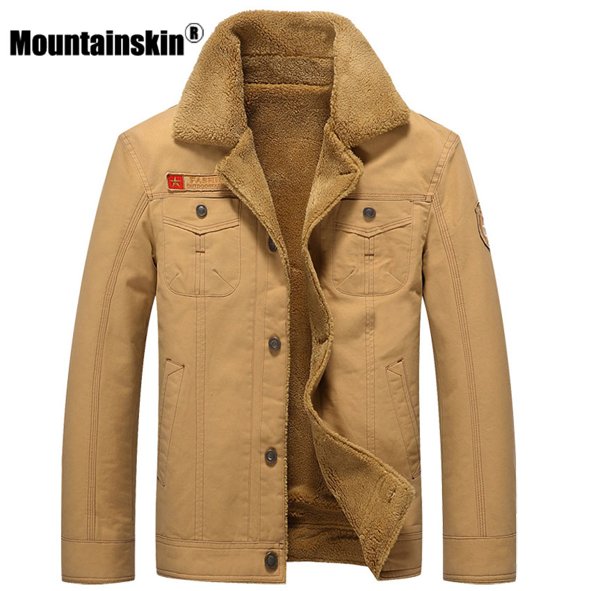 Image 3 - Mountainskin Winter Warm Jackets Thick Fleece Men's Coats Casual Cotton Fur Collar Mens Military Tactical Parka Outerwear SA351-in Jackets from Men's Clothing