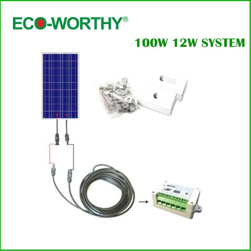 100 W KIT COMPLETO: 100 W PV Pannello Solare 12 V sistema RV Barche pannello solare * '#