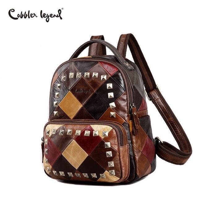 Сапожник Легенда бренда Для женщин рюкзак женский Пояса из натуральной кожи Рюкзаки для Обувь для девочек маленький рюкзак дамы заклепки красочные дорожная сумка