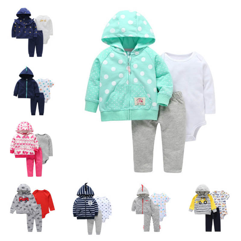 3 Pieces Sets Newborn Infant Baby Clothes Baby Tops Sweater+Pants+Bodysuit Long Sleeves Winter Toddler Girls Clothing Outfit