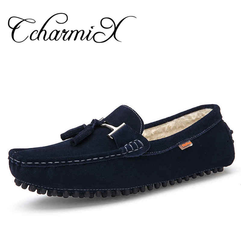 Plus size 39-46 Mens Casual Shoes Tassel Style Suede Leather Loafers 2017 New Men Flats Moccasins Man loafers Peas Fashion Shoes size 36 46 men white suede with leather luxury brand high top loubuten casual shoes mens new fashion flats shoes