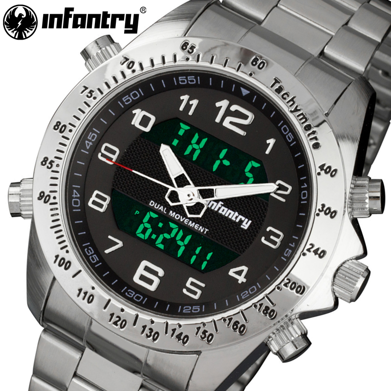 INFANTRY Men Sports Watch  Top Auto Date LED Display Stainless Steel Strap Digital Military Men's Wristwatch Relogio Masculino sanda date alarm men s army infantry waterproof led digital sports watch gray rubber