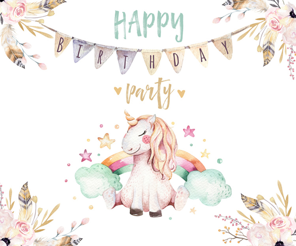 unicorn theme birthday party background baby shower