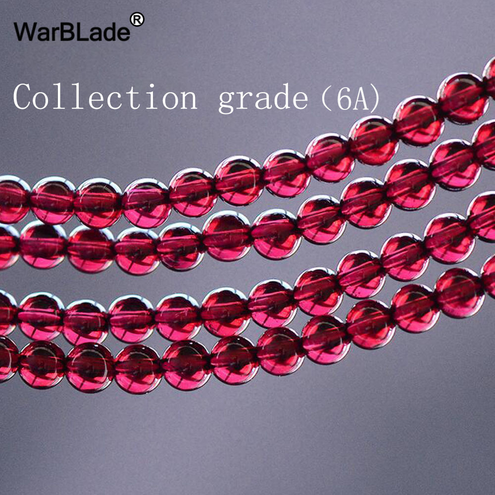WarBLade AAAAAA Natural Stone Collection Grade Wine Red Garnet Beads Round Loose Beads 2MM - 7mm For DIY Bracelet Jewelry Making ...
