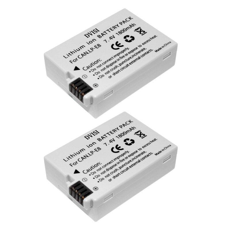 2Pcs 1.8Ah LP-E8 Rechargeable Camera Batteries for Canon 550D 600D 700D T2i T3i T4i T5i Wholesale