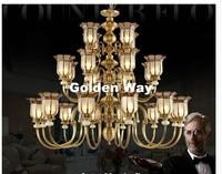 Free Shipping Modern D120cm Brass Chandelier 24L Brozne LED Lustres Home Chandelier K9 Crystals AC Candle Chandelier Lighting