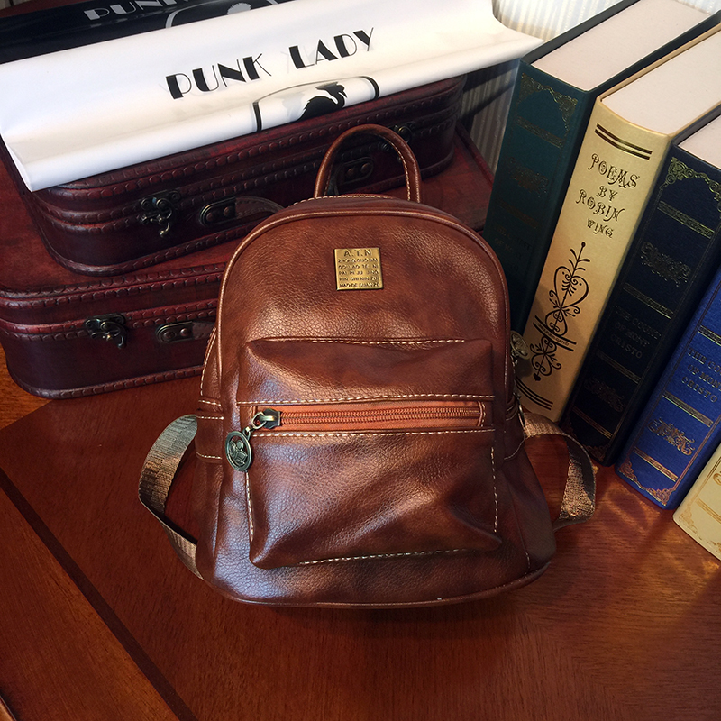 ETONWEAG Brands Litchi Rind Leather Backpacks For Teenage Girls Brown Vintage School Bags For Teenagers Zipper Mini Backpack etonweag brands cow leather backpacks for teenage girls vintage brown school bags for teenagers preppy travel small backpack