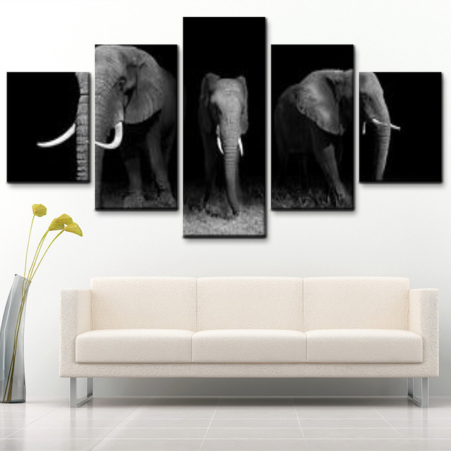 Modern Home Decor 5 Pieces Black And White Elephant Animal Canvas Painting Hd Printing Posters For