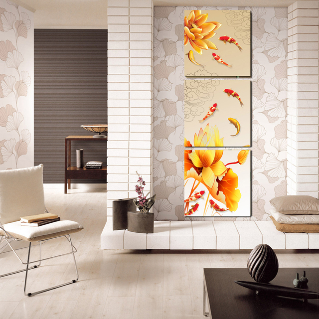 Nine Fish Lotus Feng Shui Transporter FIG Frameless Painting Decorative The Living Room Entrance Hallway
