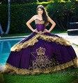 Novo 2016 Camada de Ouro Roxo Bordado Quinceanera Dresses vestido de Baile Ruffles Organza Doce 16 Vestido Vestido De 15 Años QR16