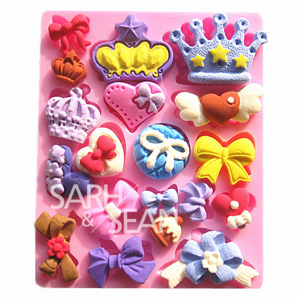 M0581 Mini crown bow collection fondant cake molds soap chocolate mould kitchen baking Silicone Sugar Cake Decoration Tool