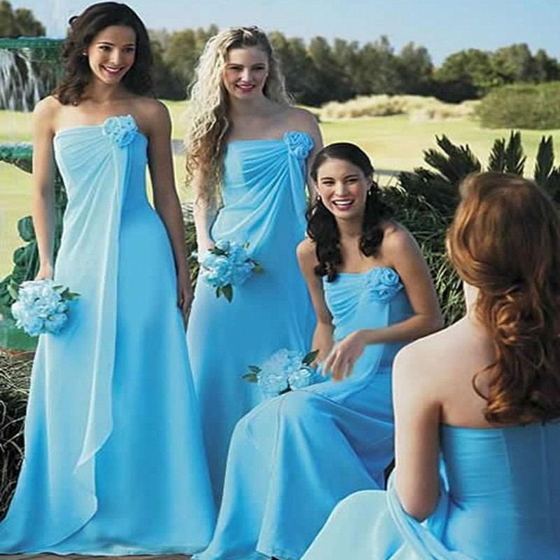 Blue Wedding Gowns Fashion: Country Style Long Wedding Party Brides Maid Gowns Vestido