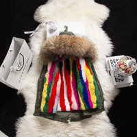 2018 Winter Children Natural Fur Parkas Girls Warm Clothes Boys Multi Fur Jackets Detachable Lining Kid Coat Raccoons Fur Collar