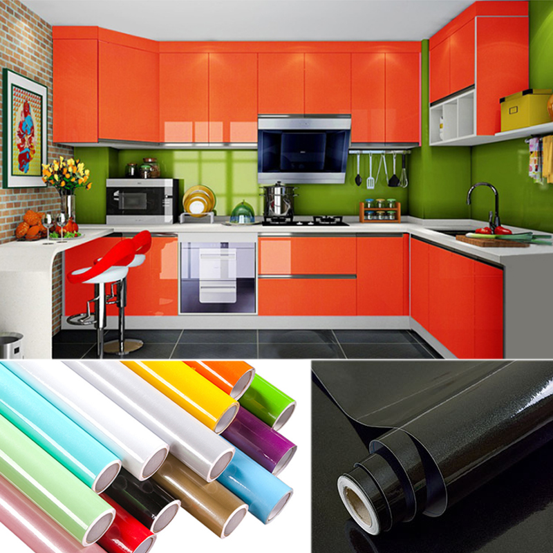3M/5M/10M paint waterproof decorative film self adhesive wallpaper roll for kitchen furniture sticker home decoration accessorie
