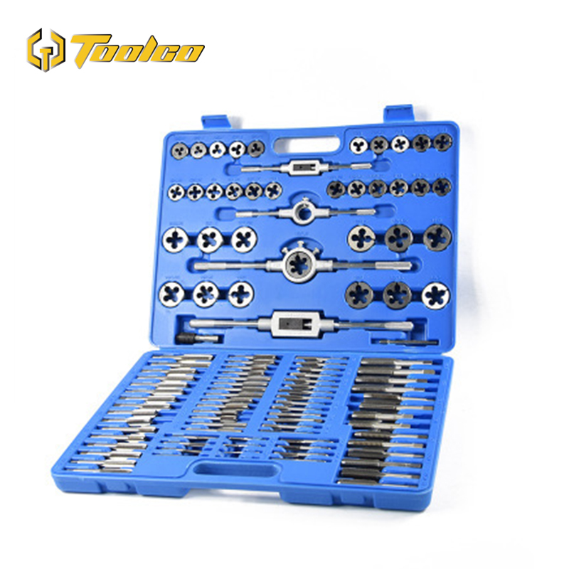110Pcs Tap & Die Set Durable Metric Tap Die Plug Drill Bits M2 M18 Hand Tools Hand Screw Taps For Metalworking