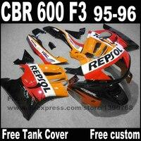 Plástico set de carenados para HONDA REPSOL cbr600 CBR 600 F3 1995 1996 naranja negro 95 96 kit de carenado CN7