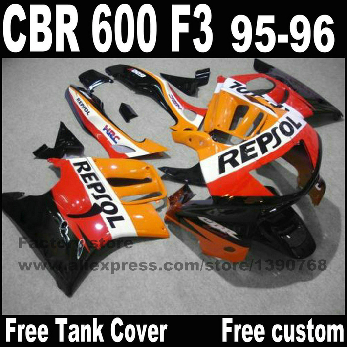 Plastic fairings set for HONDA CBR 600 F3 1995 1996 orange black REPSOL cbr600 95 96 fairing kit CN7