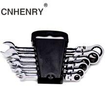 цена на 6pcs 8-19 Universal Head Wrench key Ratchet Combination Flexible Head Ratchet Spanner Set for Car Repair With Plastic Rack