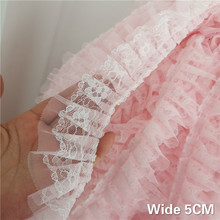 5CM Wide Luxury Tulle Doulbe Layers Embroidery Ribbon 3D Pleated Lace Mesh Fabric Dress Clothing Trims Sewing Guipure Supplies