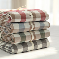 Extra Soft 100% Washed Cotton Plaid Fitted Sheet Cozy Lightweight Luxury Winter Bed Sheets Belle Collection Queen