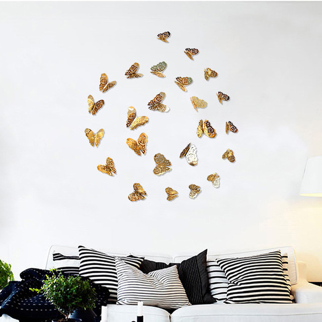 3D Wallpaper Hollow Wall Stickers Butterfly 4