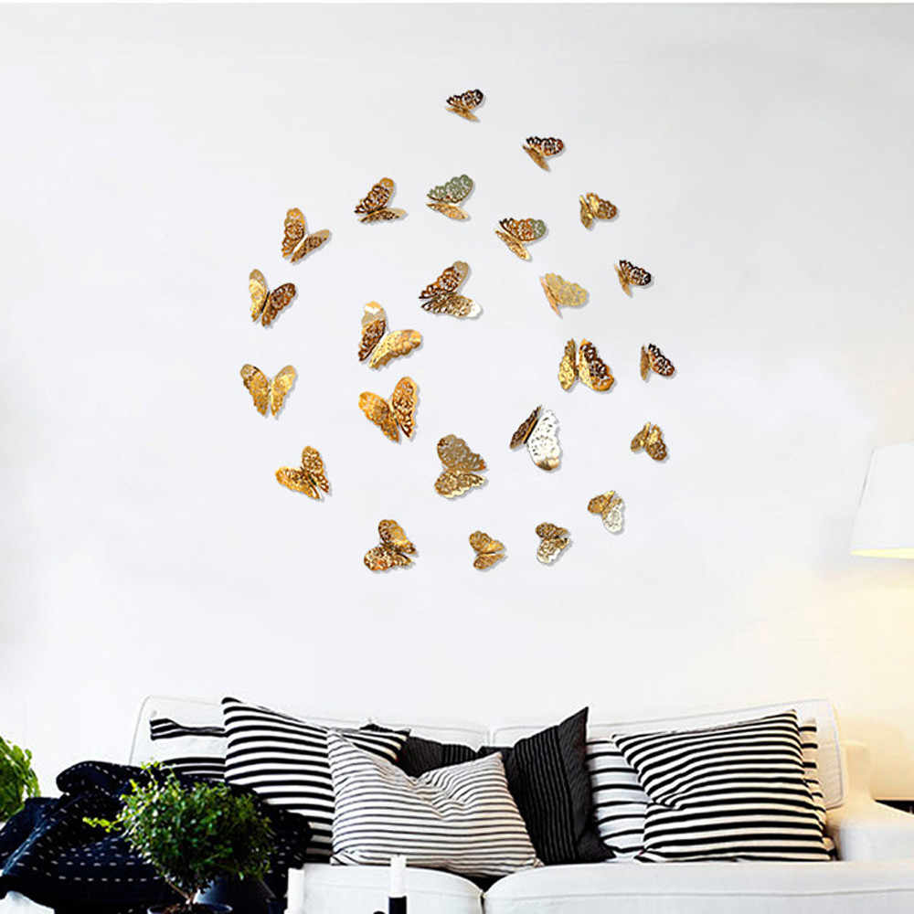 12 Pcs 3D Wallpaper Hollow Wall Stickers Butterfly Fridge For Home Decoration New Wall Stickers High Quality Home Decorations