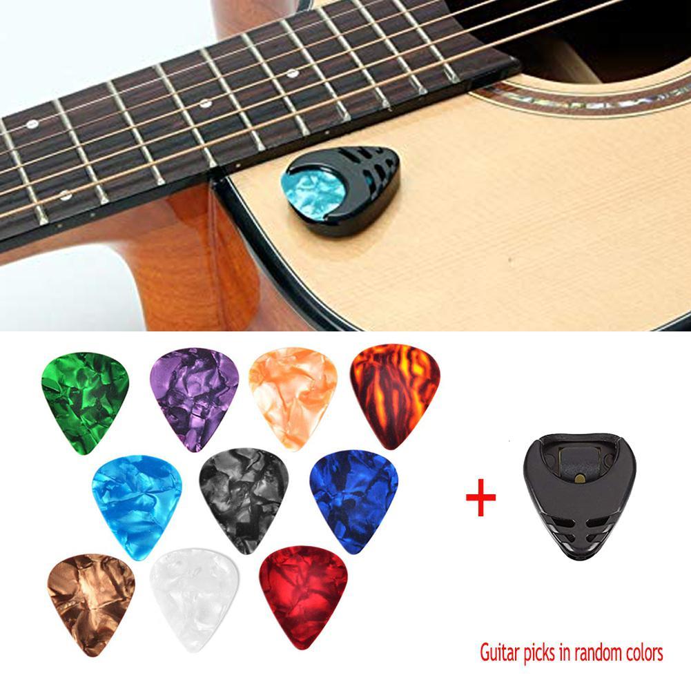 10pcs Celluloid Guitar Picks & Pick Holder Set For Folk Acoustic Guitar Electric Bass Ukulele Stick-on Holder Picks Random Color