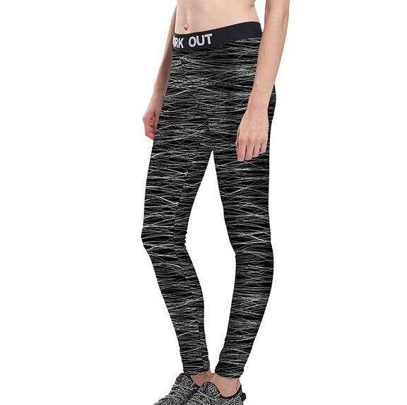 2017 Women Unisex Silver Lines Workout Pants Full Size S-4XL Fitness Leggings High Waist Elastic Fiber Aerobic Exercise