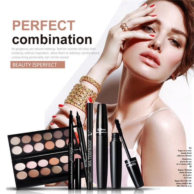 Makeup Set: 3D Deep Black Mascara+Black Liquid Eyeliner Cosmetics Kits+12 Color Matte Eye Shadow Palette+Eyebrow Enhancer Pencil