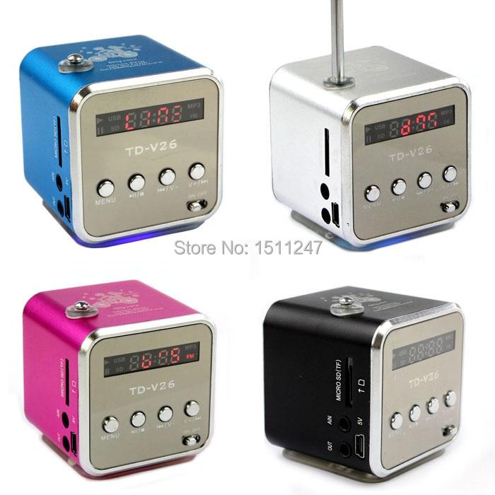 mini Digital portable radio FM speaker internet FM radio USB SD TF card player for mobile phone PC music player V26R-4