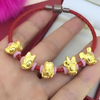 New Fine 24K Yellow Gold Bracelet 3D 999 Gold Cartoon String Bracelet 1g 1 pieces