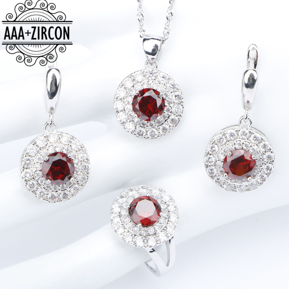 все цены на Wedding Silver 925 Women Costume Bridal Jewelry Sets Earrings With Stones Dark Red Zircon Rings Necklaces Pendants Set Gift Box